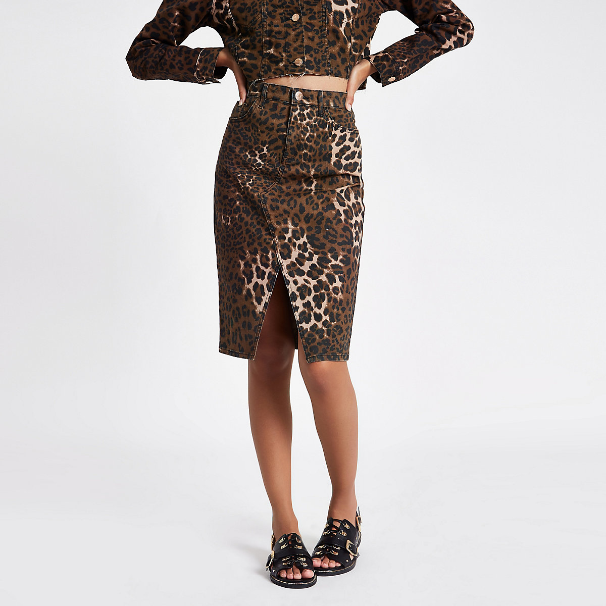 Brown leopard print split hem pencil skirt