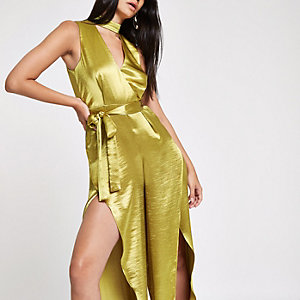 RI 30 dark yellow split wide leg jumpsuit