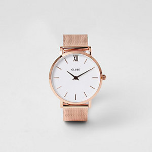 Cluse – Montre en maille plaqué or rose