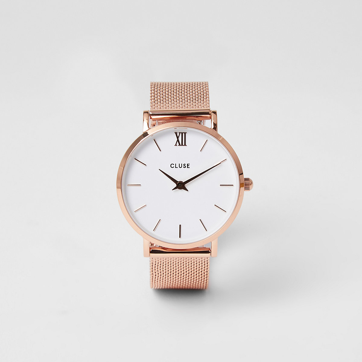 Rose gold plated Cluse mesh watch