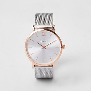 Silver plated Cluse mesh watch