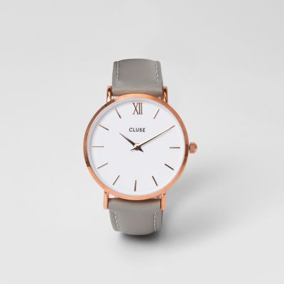 Grey Rose Gold Tone Face Cluse Watch by River Island