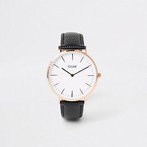 Cluse - Zwart horloge met goudkleurige wijzerplaat