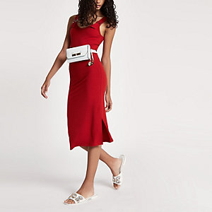 Red rib buckle strap bodycon midi dress
