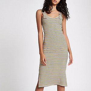 Yellow stripe buckle strap bodycon midi dress