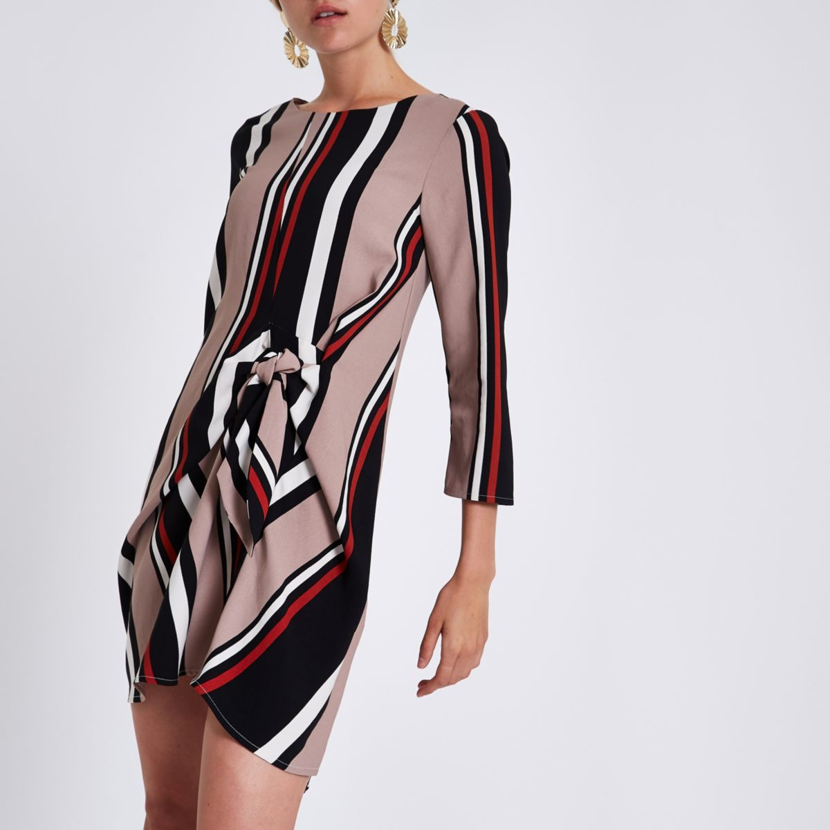 Black stripe tie front shift dress