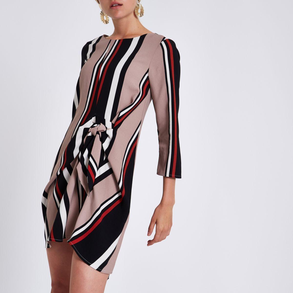 Black stripe tie front shift dress