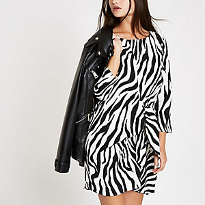 White zebra print tie front mini dress
