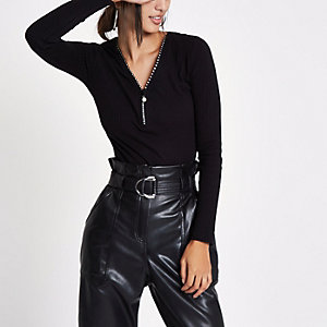 Black rib diamante zip front top