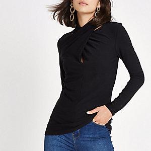 Black twist neck long sleeve blouse