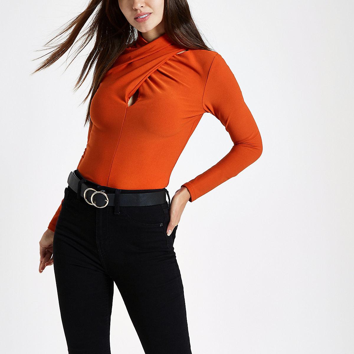 Orange twist neck long sleeve blouse