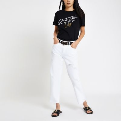 Black 'Don't Give Up' Print T Shirt by River Island