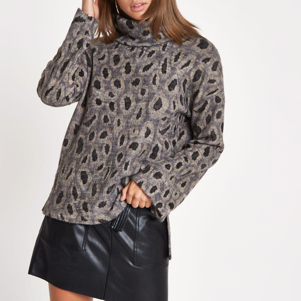 Brown brushed leopard print top