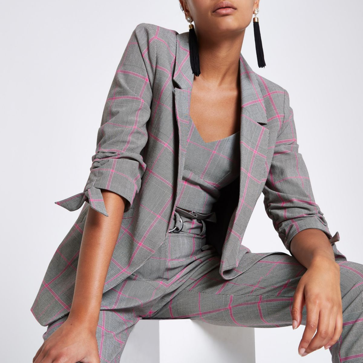 Grey check ruched sleeve blazer