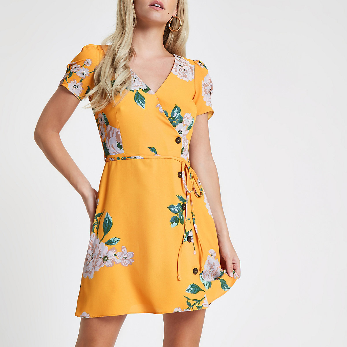 Petite yellow floral print button mini dress