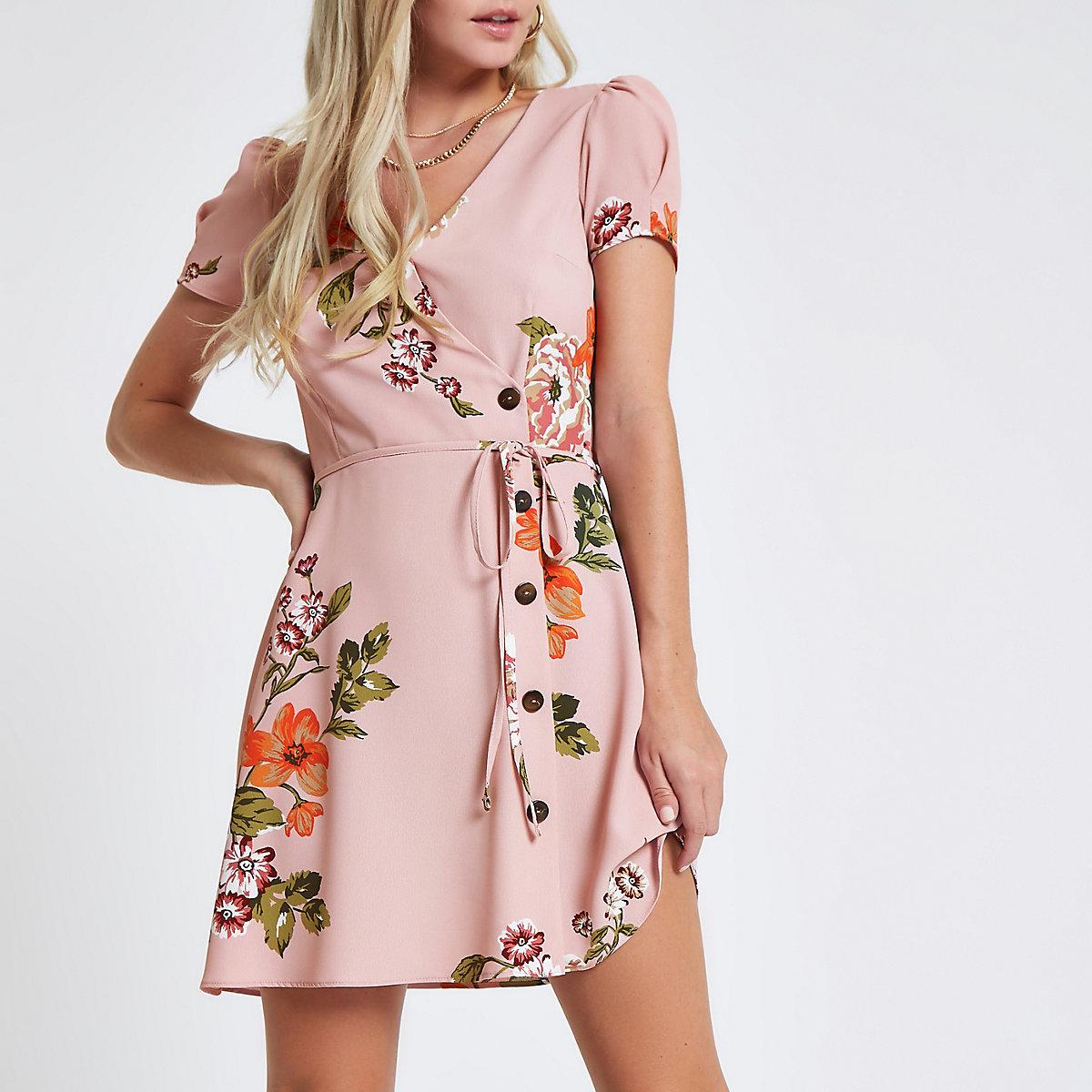 Petite pink floral button down mini dress