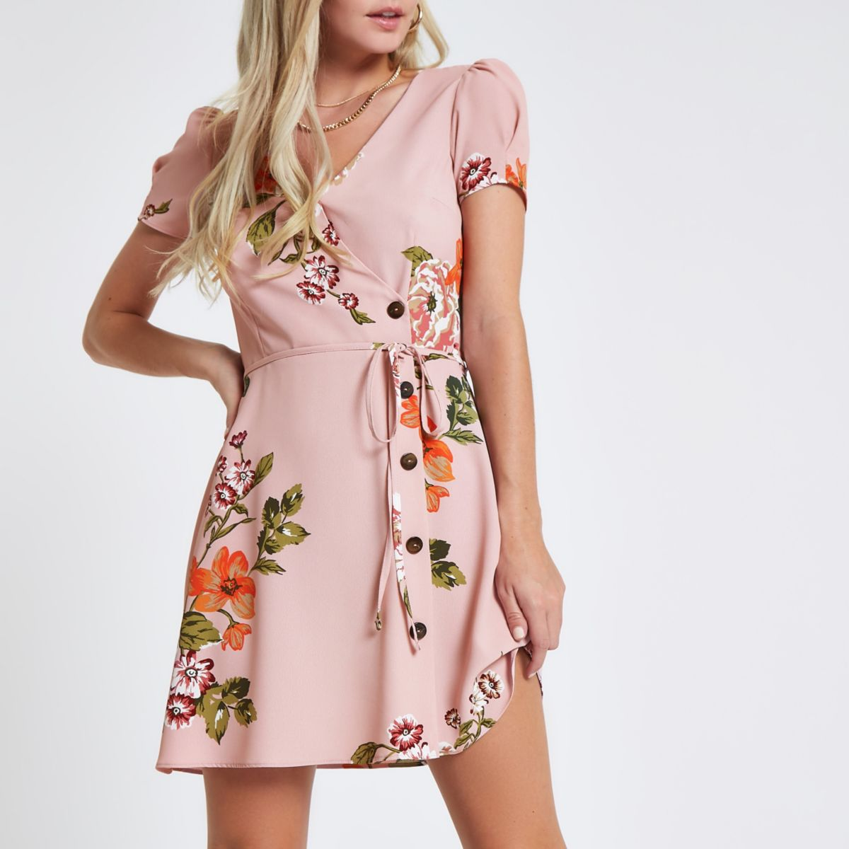 Petite pink floral button through mini dress