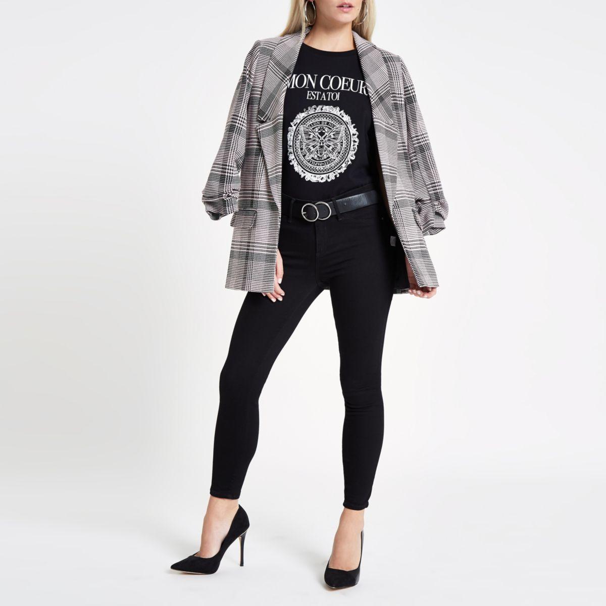 RI Petite - Zwart slim-fit T-shirt met 'Mon Coeur'-print
