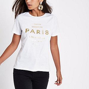 RI Petite - Wit T-shirt met 'Paris'-borduursel
