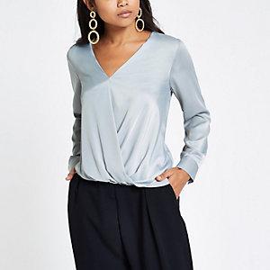 Petite grey wrap tuck front blouse