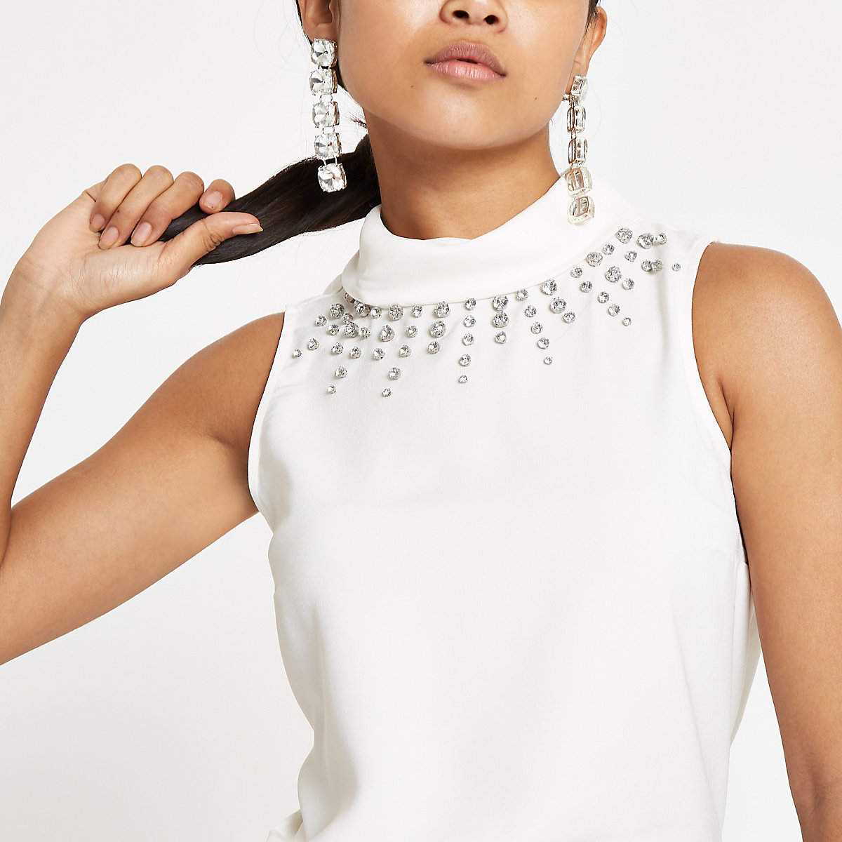 Petite white embellished high neck top