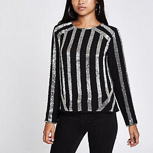 Petite black stripe sequin long sleeve top
