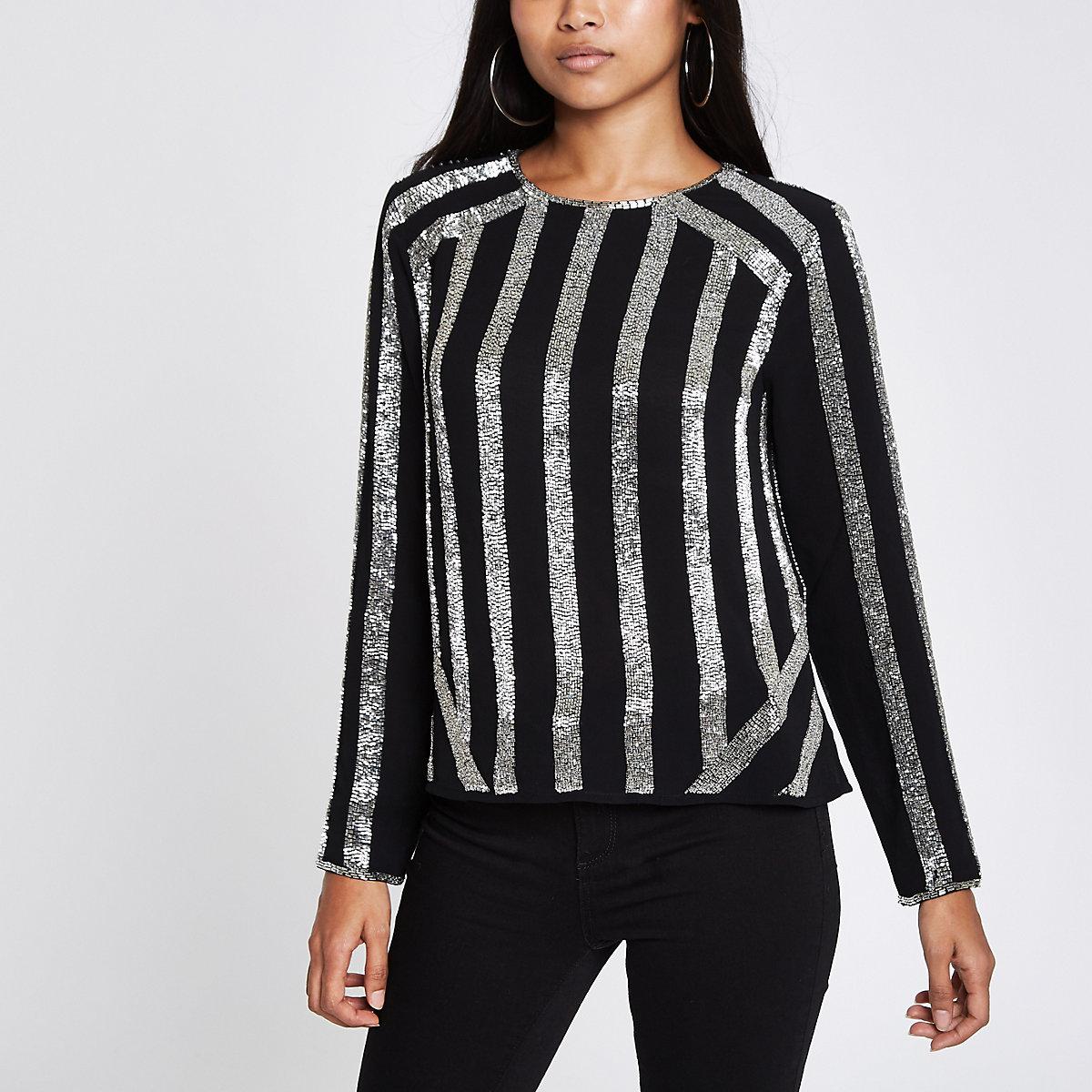 Petite black stripe sequin long sleeve top