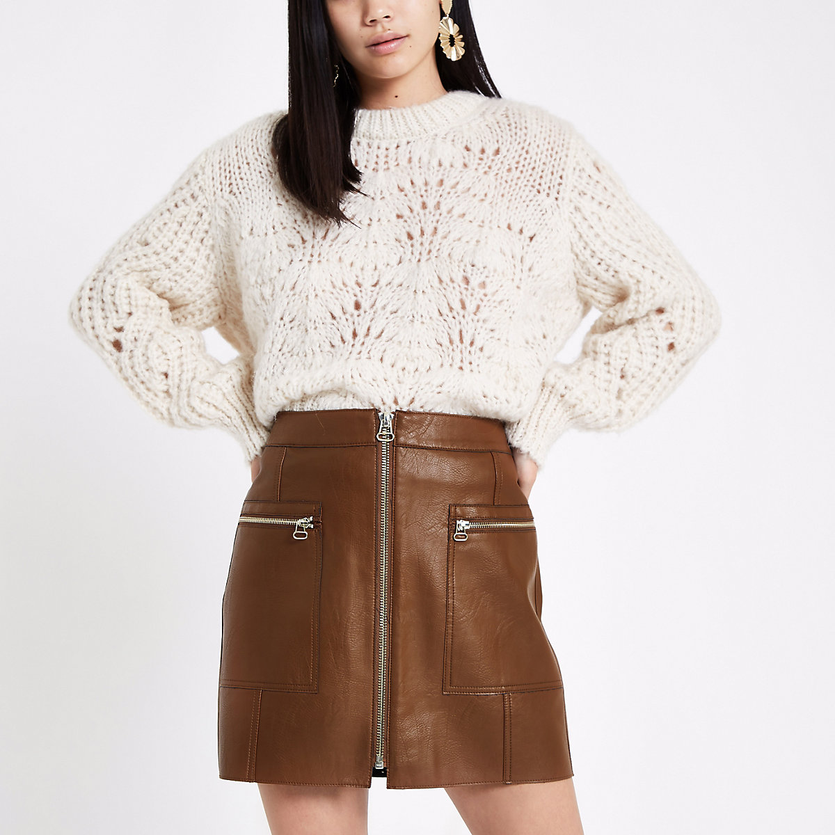 Brown zip pocket biker mini skirt