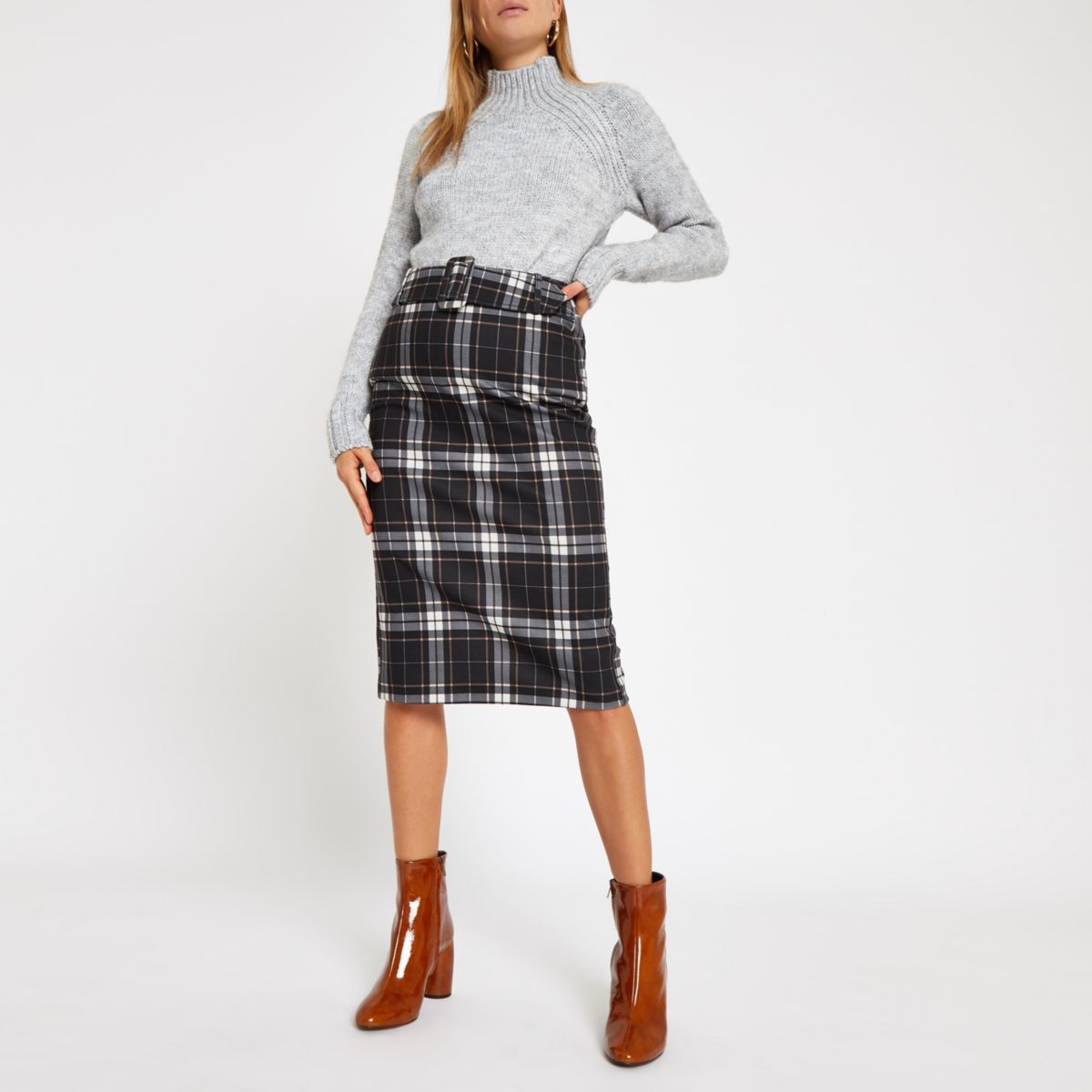 Blue check belted pencil skirt