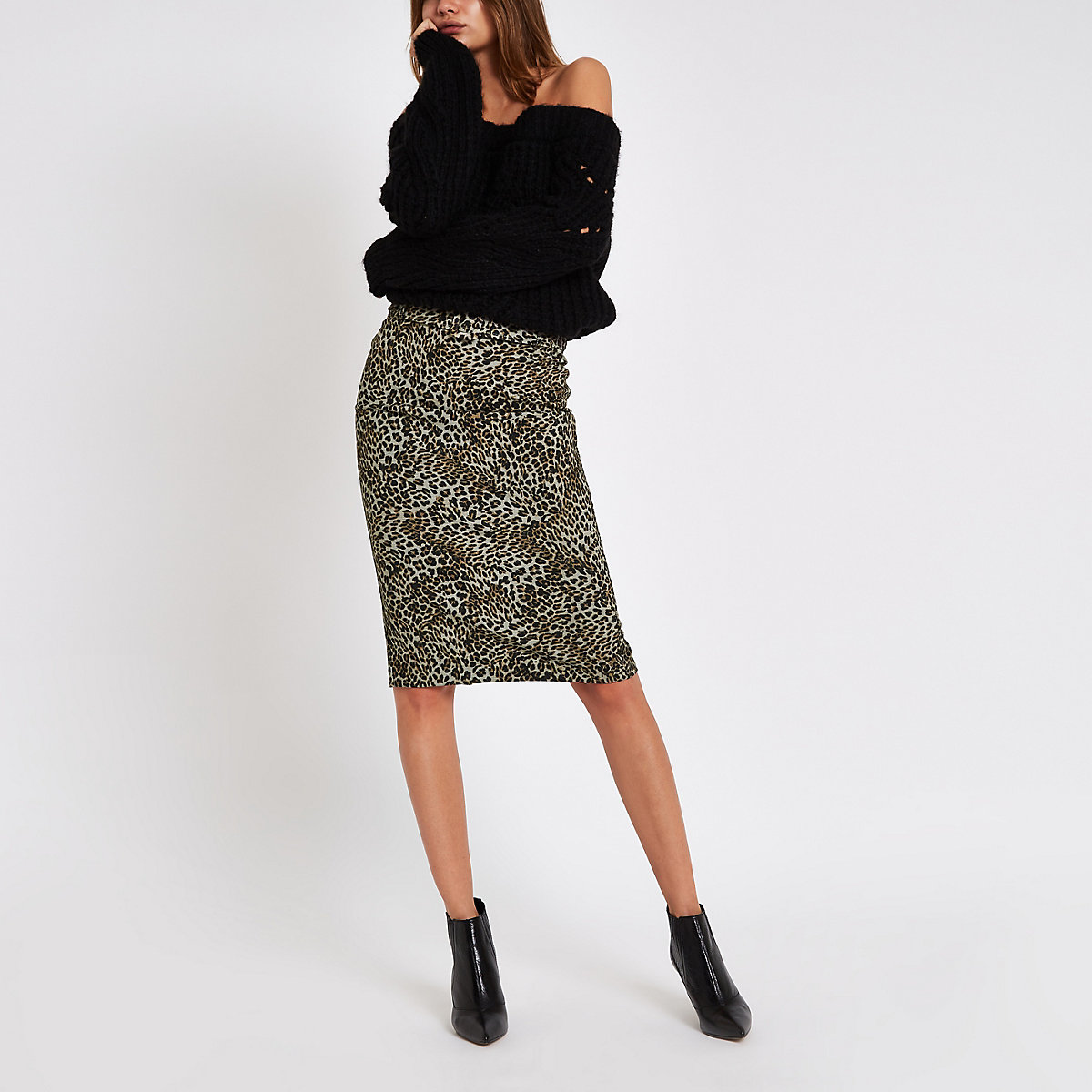 Brown ponte leopard print belted pencil skirt