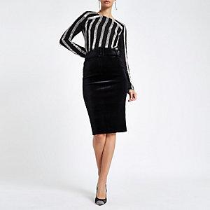 Black velvet belted pencil skirt