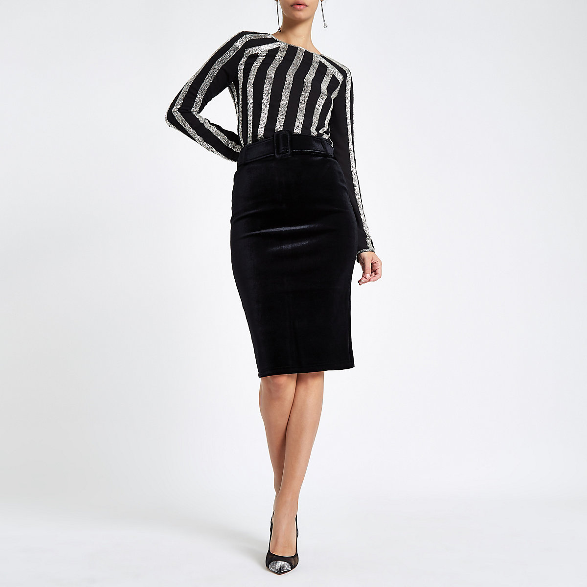 Black velvet belted pencil skirt