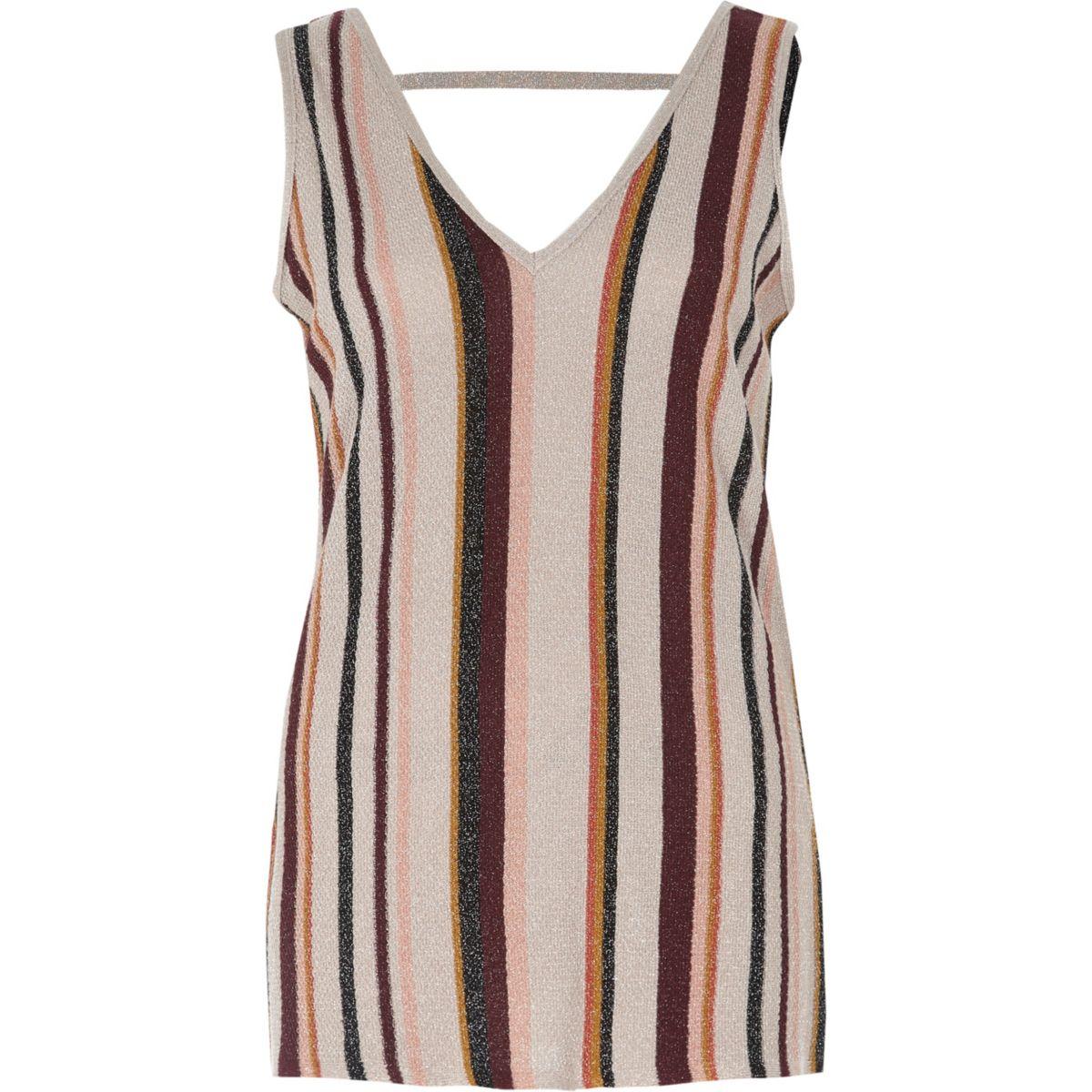 Light vest pink stripe metallic knit stitch BxBf6Uwq