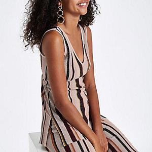 Light pink stripe metallic stitch knit vest