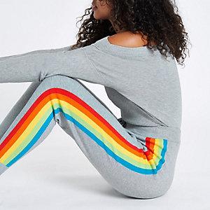 Pantalon de jogging en maille gris à bande latérale arc-en-ciel