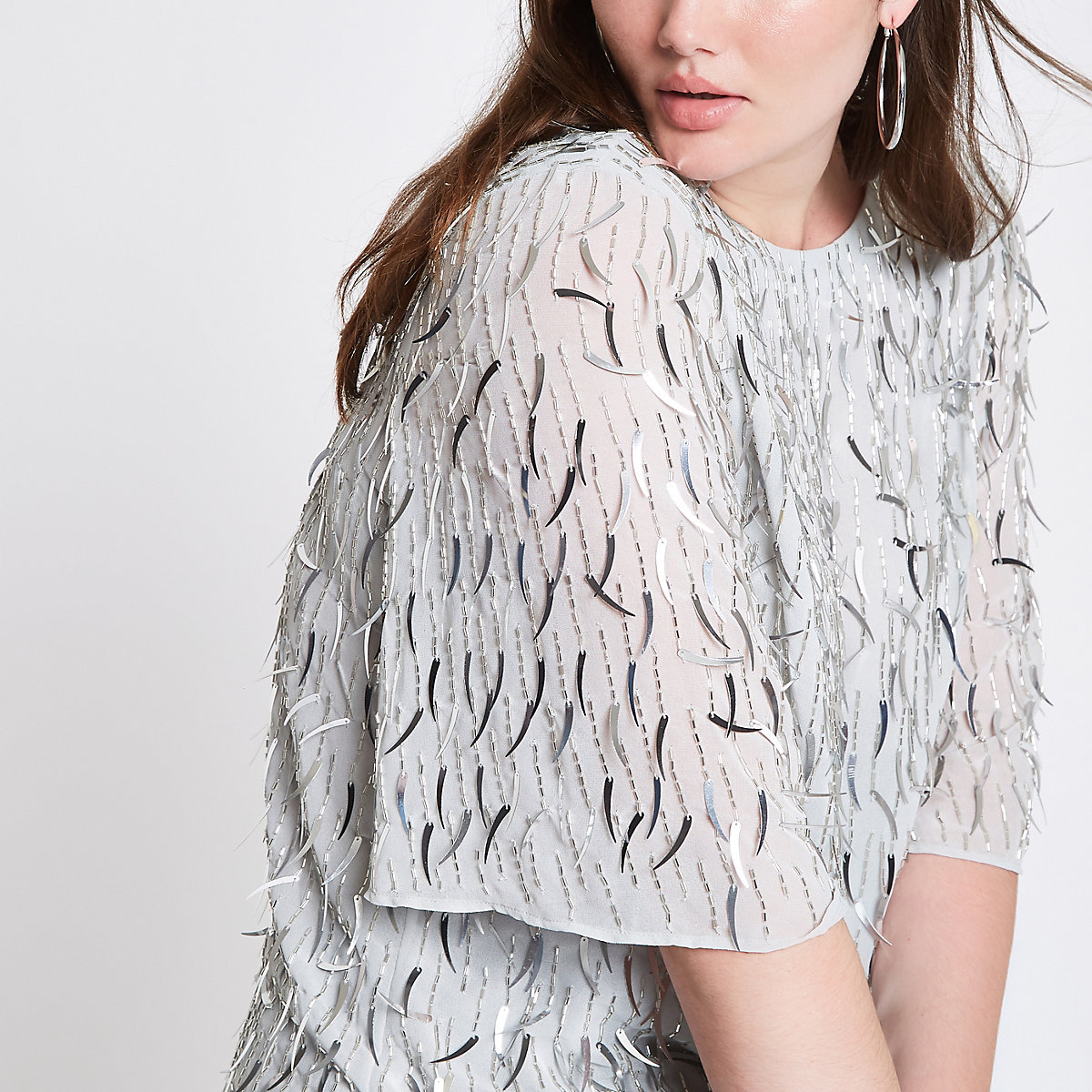 Plus silver sequin embellished top