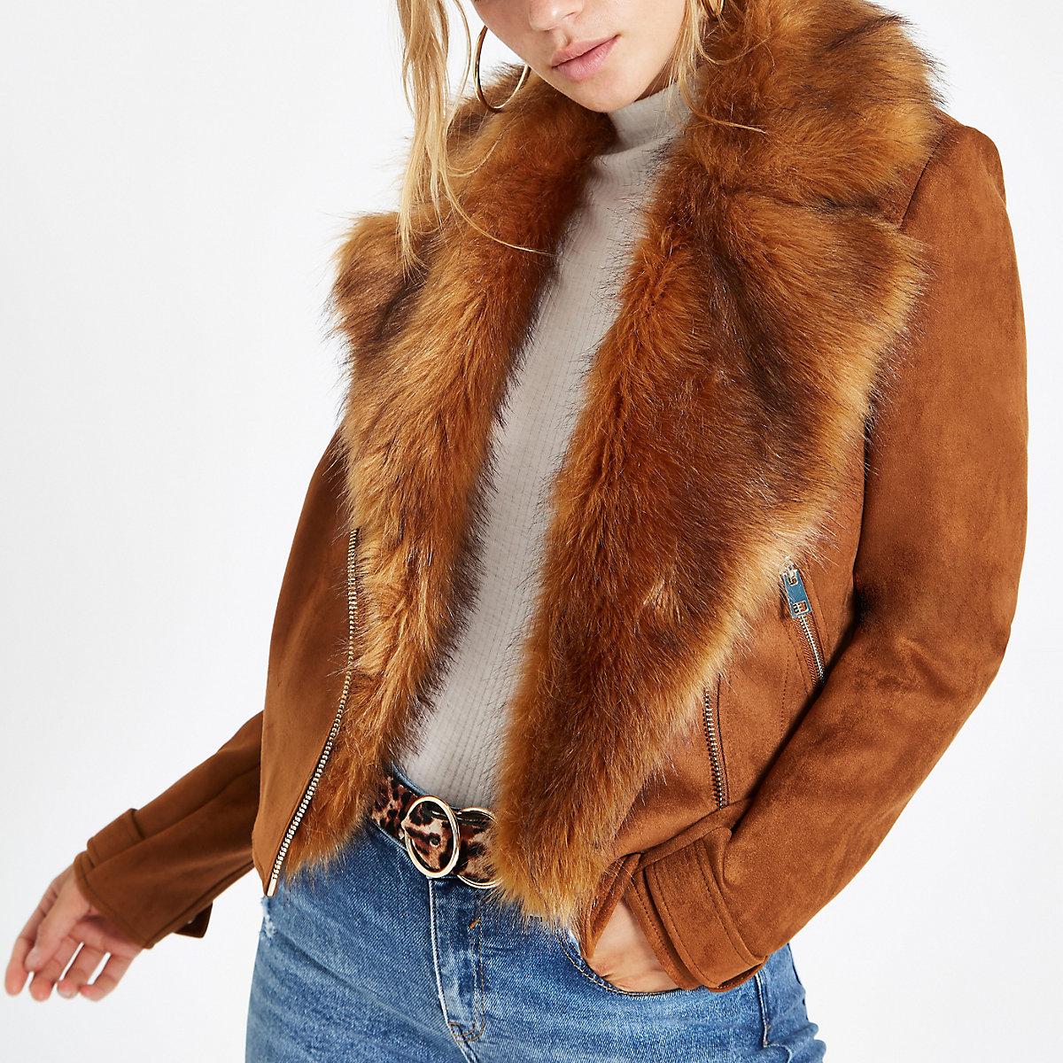 Brown faux suede fur trim biker jacket