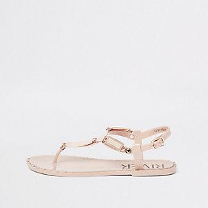 Sandales rose clair et dorées