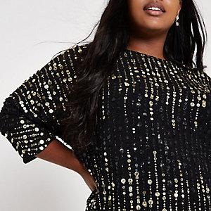 Plus black sequin embellished loose fit top