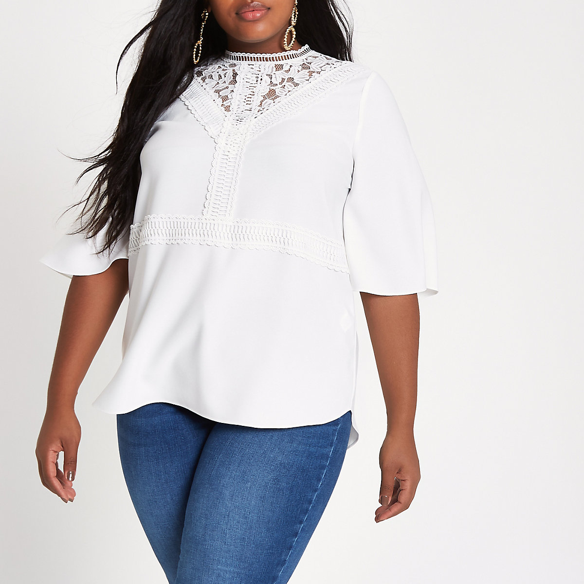Plus white lace insert long sleeve top