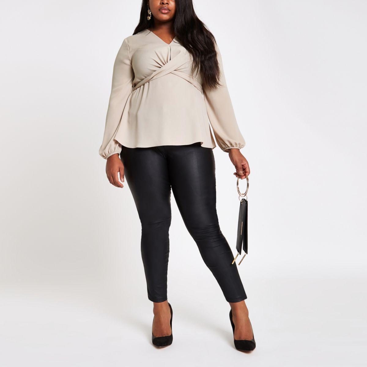 Plus stone twist front long sleeve blouse