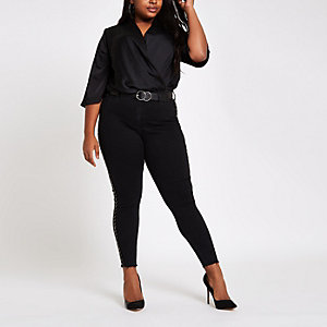 Plus black kimono sleeve wrap bodysuit