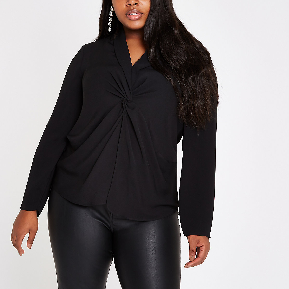 Plus black twist front long sleeve blouse
