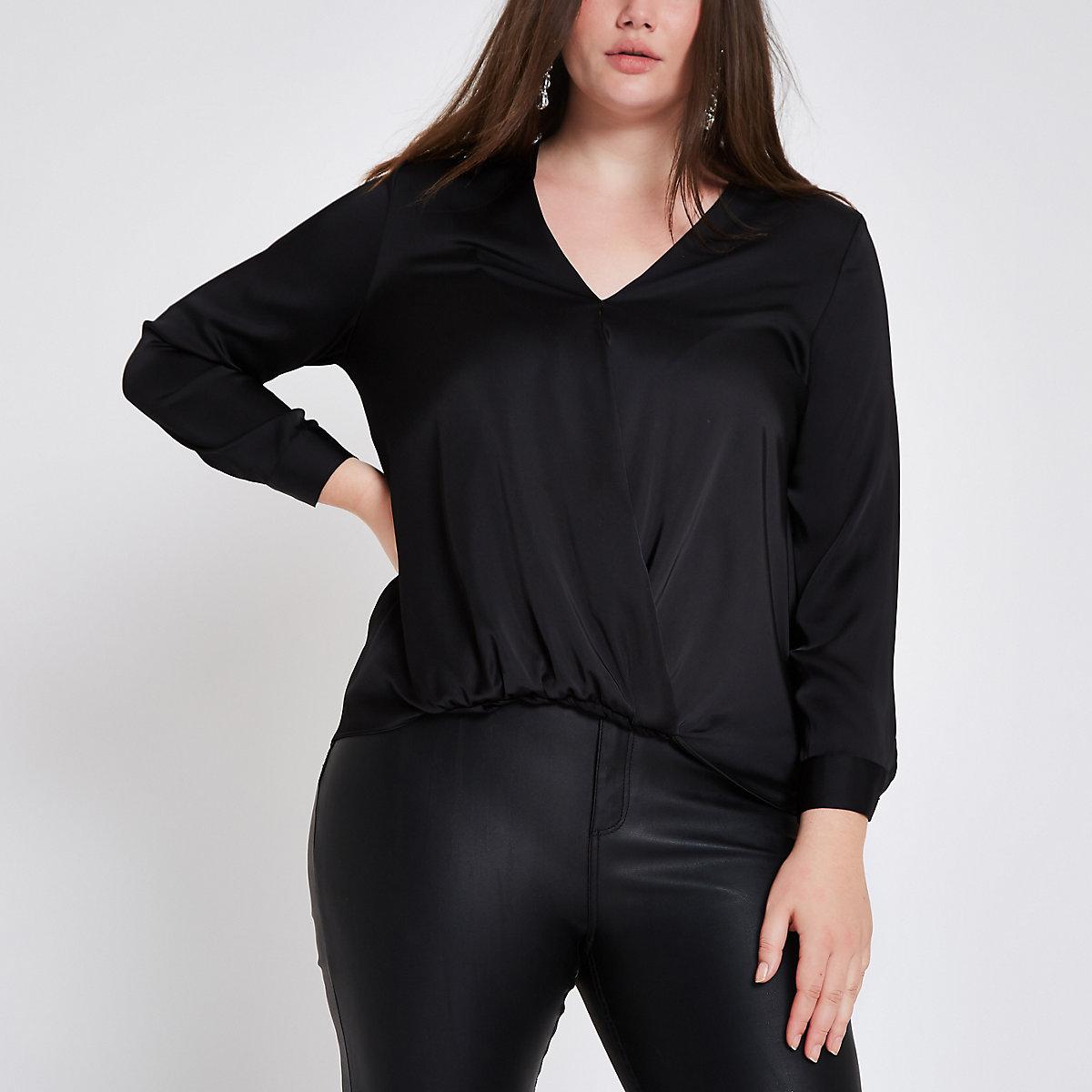 Plus black satin wrap front blouse