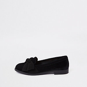 Black faux suede bow loafers