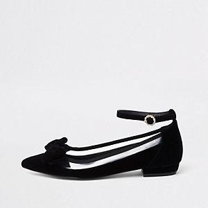 Zwarte puntige perspex schoenen met strik