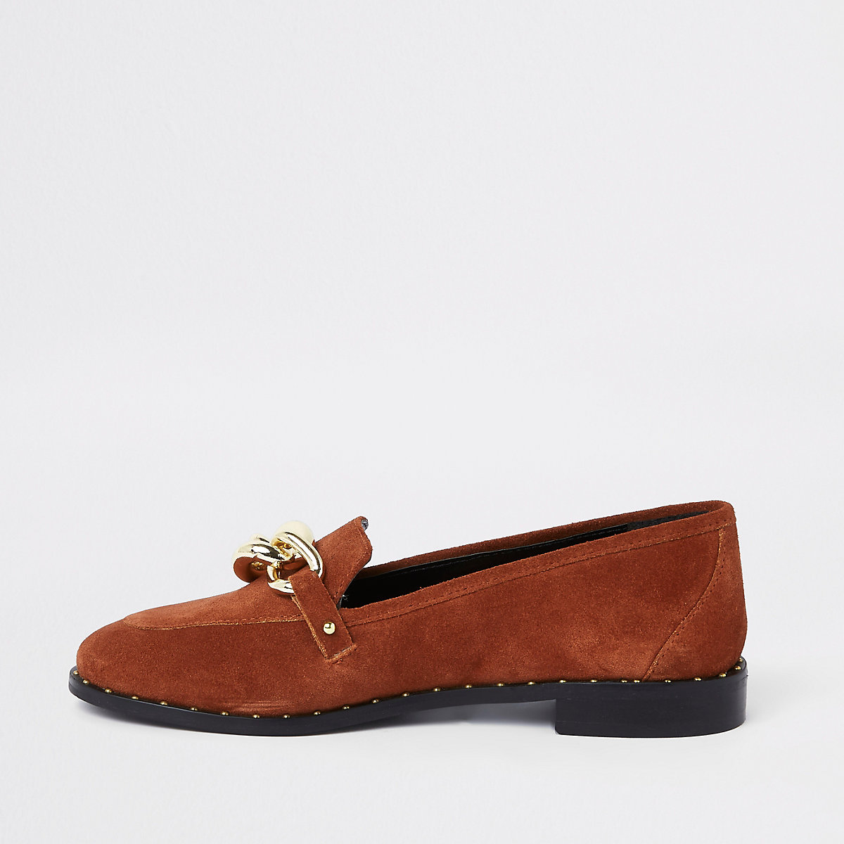 Dark orange leather gold tone chain loafers