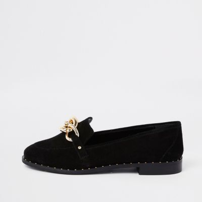 Black Suede Gold Tone Chain Loafers by River Island