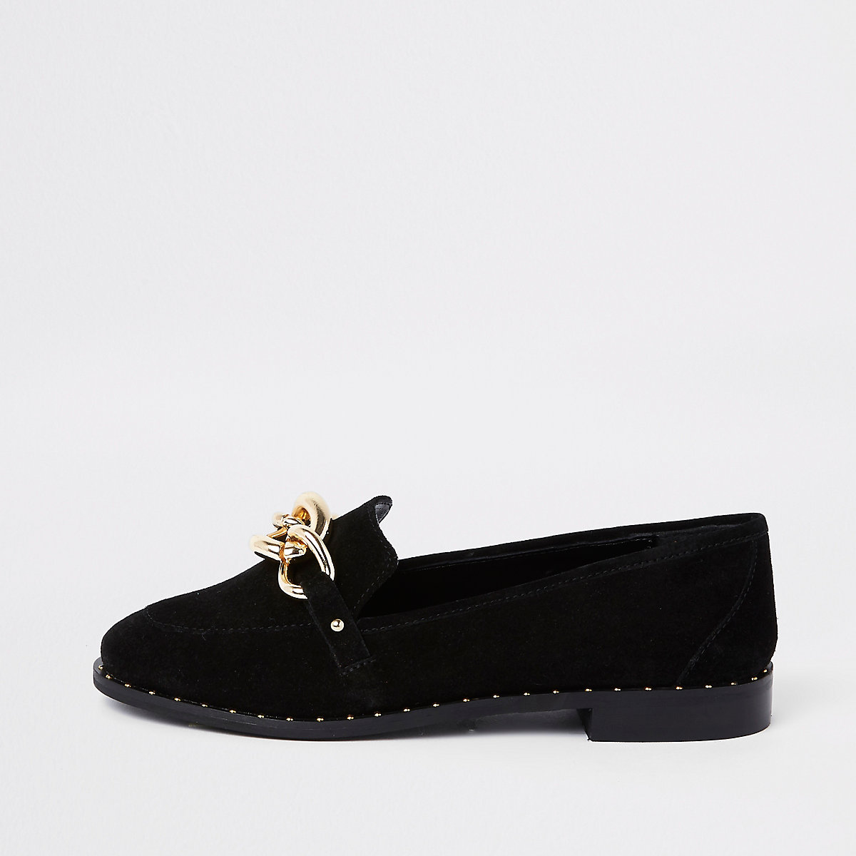 Black suede gold tone chain loafers