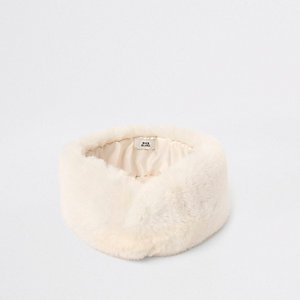 Cream faux fur headband